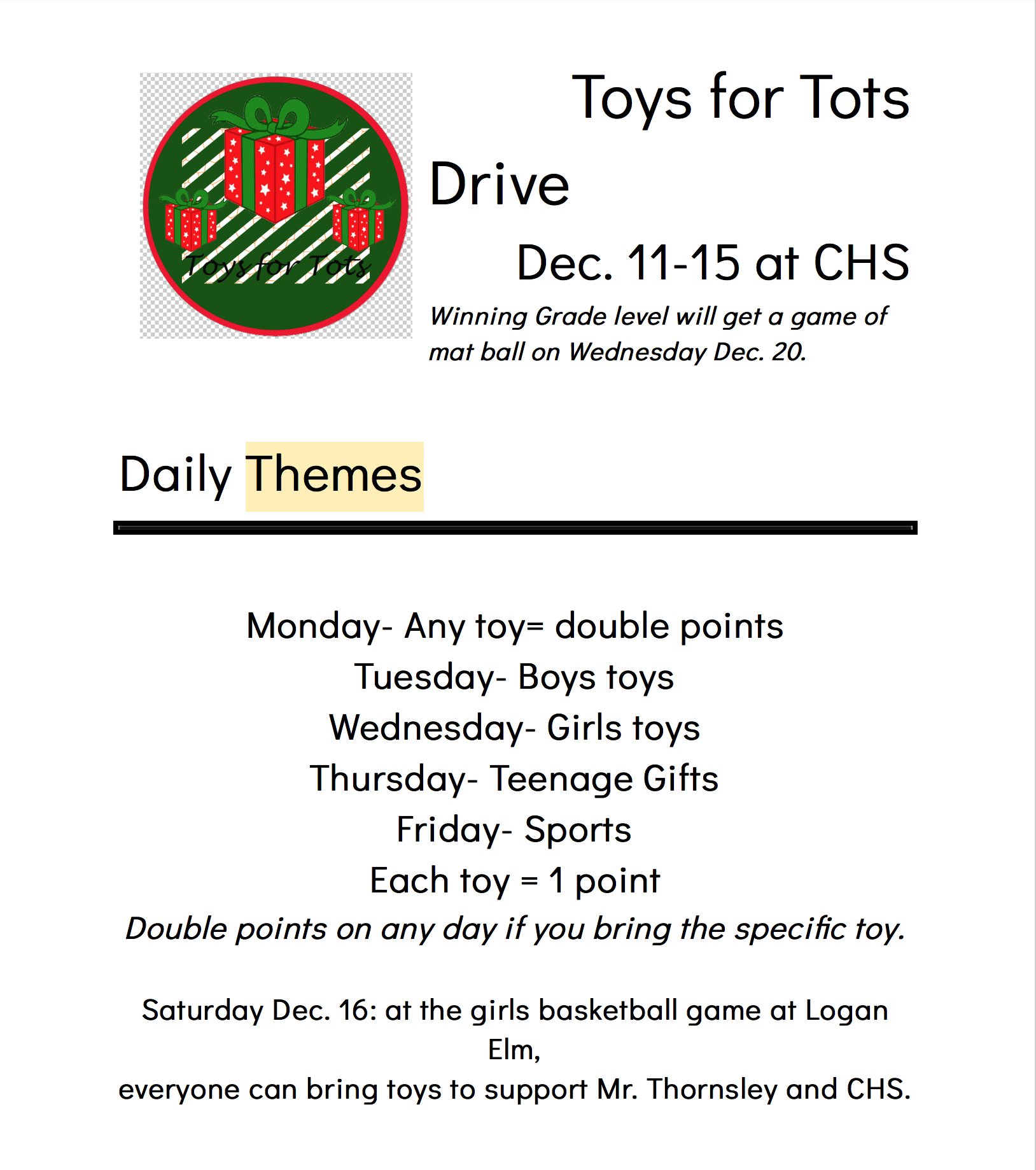Two High Schools Compete for Toys for Tots - Scioto Post