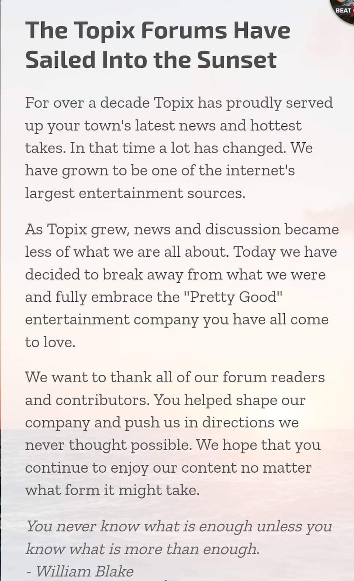 Topix Shuts Down Local News Forums - Scioto Post