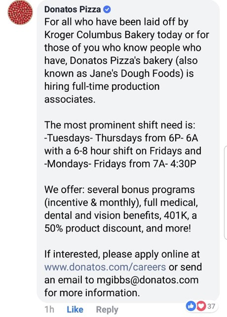 Donatos Pizza Tells Kroger Columbus Bakery Laid Off Workers