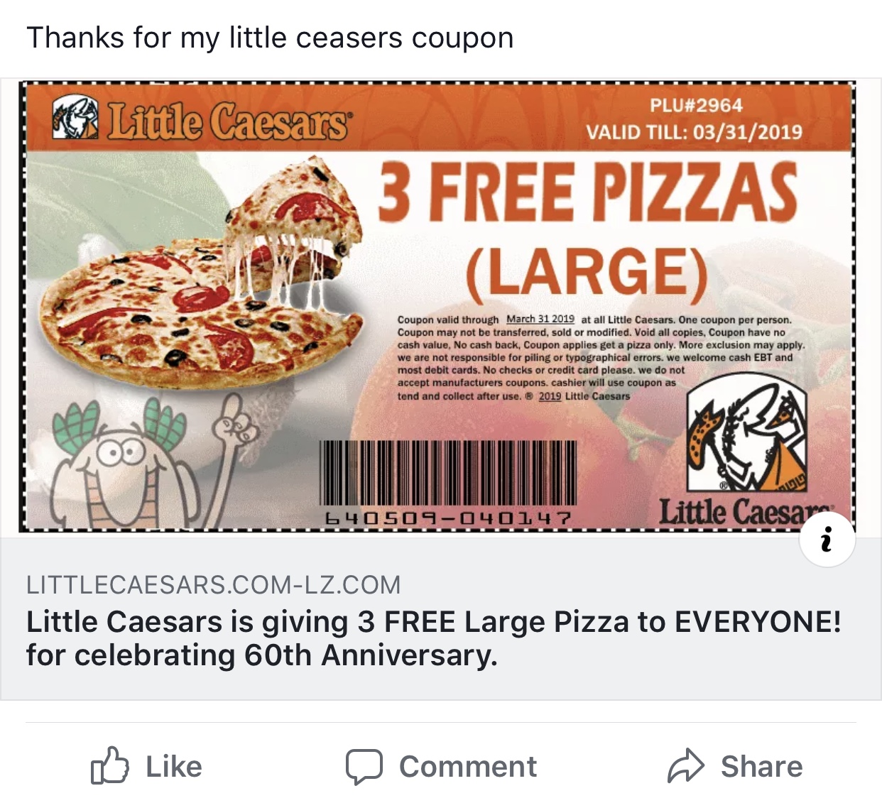 Little Caesar Warns of Coupon Scam - Scioto Post
