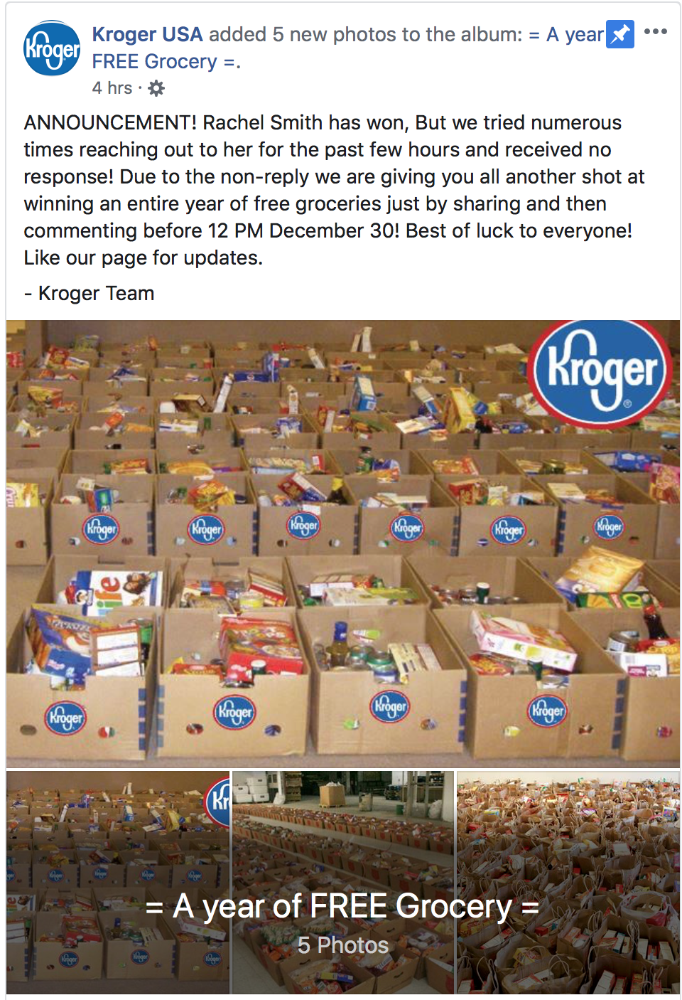 Kroger Circleville Ohio >> Kroger Warns Shoppers Facebook Free Grocery Ad - Scioto Post